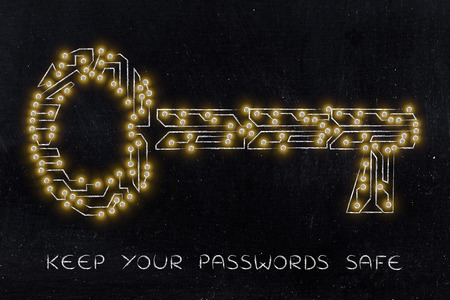 concept of web security and passwords: key made of electronic microchip circuit Stock Photo