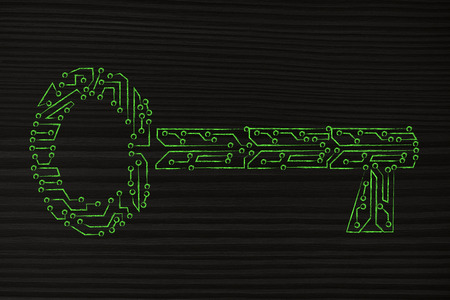 concept of keywords or passwords: key made of electronic microchip circuits