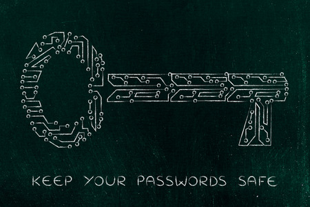 passwords: concept of web security and passwords: key made of electronic microchip circuit Stock Photo