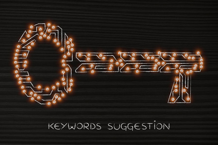 metadata: concept of keywords for your online content to reach success: key made of electronic microchip circuits