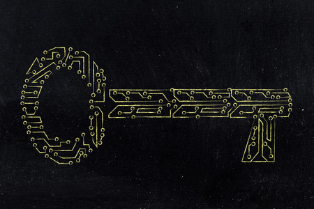 metadata: concept of keywords or passwords: key made of electronic microchip circuits
