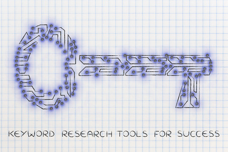 metadata: concept of keywords for online content: key made of electronic microchip circuits Stock Photo