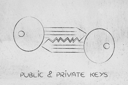 matching: encryption algorithms and cryptography concepts: matching keys chalk outline illustration
