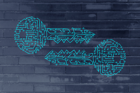 algorithms: encryption algorithms and cryptography concepts: matching public and private keys made of electronic microchip circuits Stock Photo