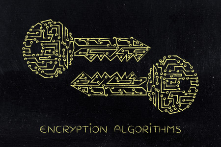 matching: encryption algorithms and cryptography concepts: matching public and private keys made of electronic microchip circuits Stock Photo