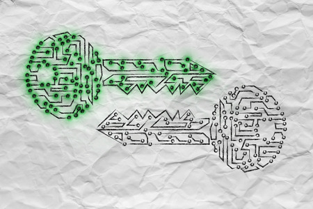 algorithms: encryption algorithms and cryptography concepts: matching public and private keys made of electronic microchip circuits with led lights Stock Photo