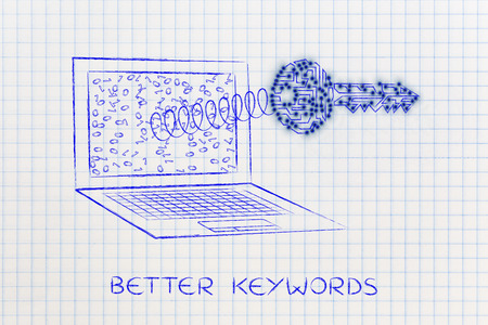 metadata: keyword suggestion concept: key made of electronic circuits with led lights coming out of laptop screen on a spring