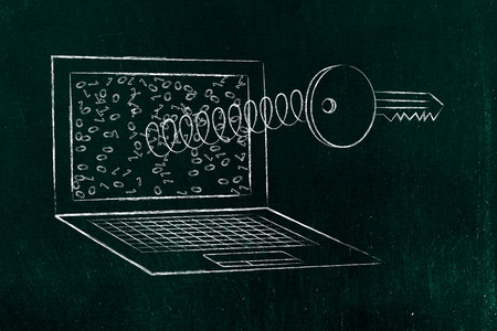 passwords & security concept: key coming out of laptop screen on a spring