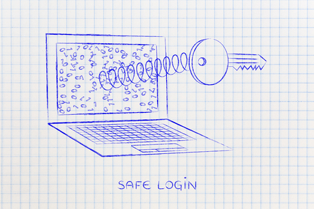 preference: passwords & security concept: key coming out of laptop screen on a spring