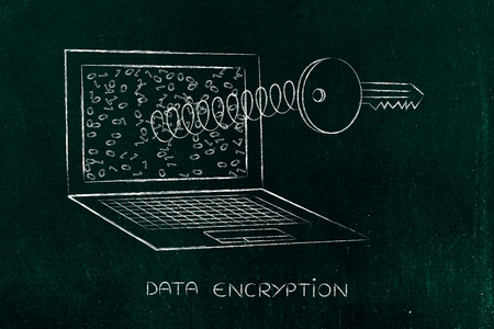 encryption & data security concept: key coming out of laptop screen on a spring