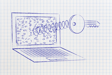 passwords: passwords & security concept: key coming out of laptop screen on a spring