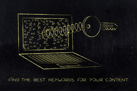 metadata: keyword analysis concept: key coming out of laptop screen on a spring Stock Photo