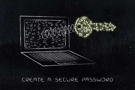 passwords: passwords & security concept: key madeo of electronic circuits with led lights coming out of laptop screen on a spring Stock Photo