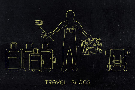 concept of exploring the world & airline luggage allowance: travel blogger or tourist surrounded by lots of bags and gear
