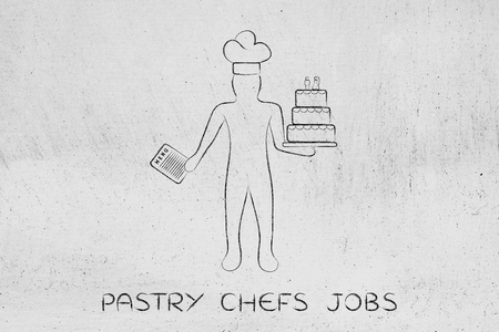 pastry chef holding a menu and customized wedding cake, concept of professional catering services