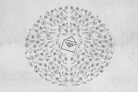 concept of being busy & productive: email envelope icon surrounded by multitude of spinning documents