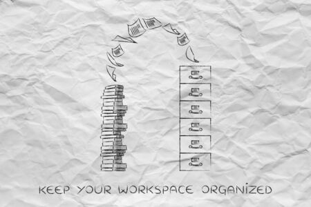 organize: organize your workspace: archive with pile of documents flying into or out of it Stock Photo