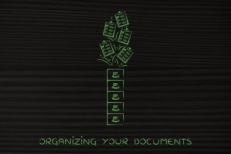 tasks: organize your tasks: archive with to-do lists flying into or out of it