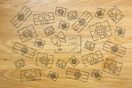 multitude: multitude of wrapped presents surrounding a big gift card