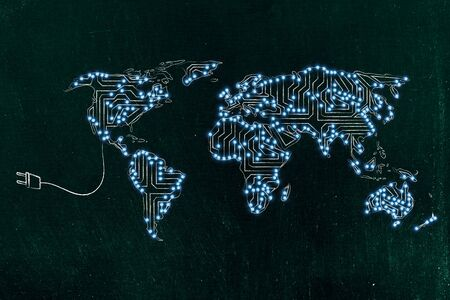 concept of global communications and connectivity: world map made of electronic microchip circuits Stock Photo
