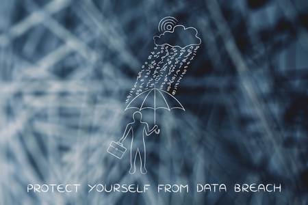 data breah protection concept: business man with umbrella under a rain of binary code from digital cloud with wifi symbol