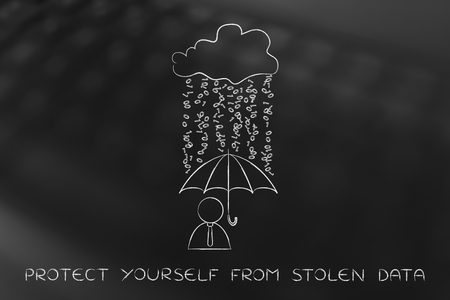 spyware: data breah protection concept: user with umbrella under a rain of binary code from digital cloud
