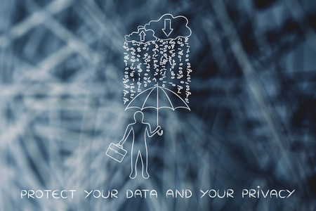 spyware: data breah protection during download & upload: business man with umbrella under a rain of binary code from digital cloud Stock Photo