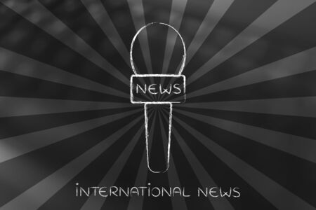 concept of international news live coverage: reporter microphone with rays effect overlay Stock Photo