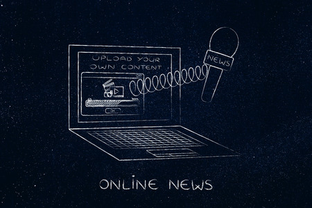 uploaded: concept of crowdsourced news shaing online: microphone out of laptop screen on a spring, with video being uploaded in a pop-up window