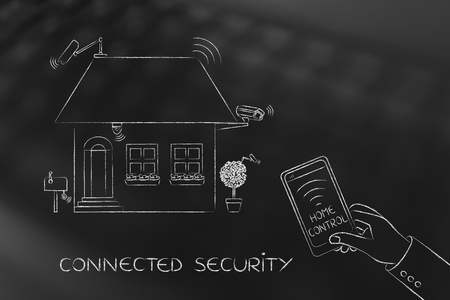 smarthone: cctv cameras and wireless security devices, house with multitude of smart objects connected to smarthone app