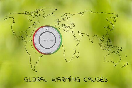 mapa conceptual: el calentamiento global y el cambio climático concepto: mapa del mundo con termostato que muestran el aumento de las temperaturas Foto de archivo