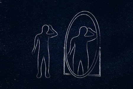 body image issues concept: thin person looking in the mirror and seeing himself as overweight