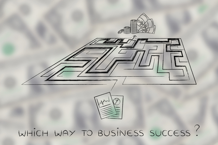 obtaining: the road from having an innovative business plan to obtaining profits: maze between documents with stats and cash, perspective version Stock Photo