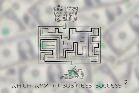 obtaining: the road from having an innovative business idea to obtaining profits: maze between documents with lightbulbs and cash