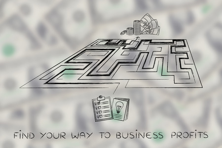 obtaining: the road from having an innovative business idea to obtaining profits: maze between documents with lightbulbs and cash, perspective version
