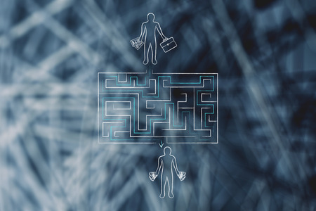path to wealth: entrepreneur on its way from business establishment to wealth: maze path metaphor