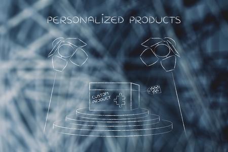 product maatwerk concept: stukje van de puzzel invullen van een gepersonaliseerd punt doos, onder spotlights
