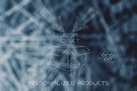 product customization concept: men with missing piece of puzzle completing a personalized item box Stock Photo
