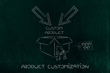 missing piece: product customization concept: men with missing piece of puzzle completing a personalized item box Stock Photo