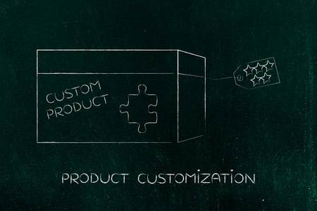 highend: product customization concept: missing piece of puzzle completing a personalized item box Stock Photo
