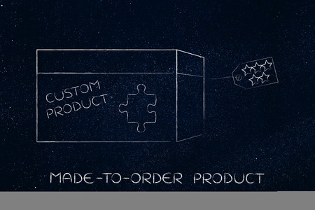 missing piece: product customization concept: missing piece of puzzle completing a personalized item box Stock Photo