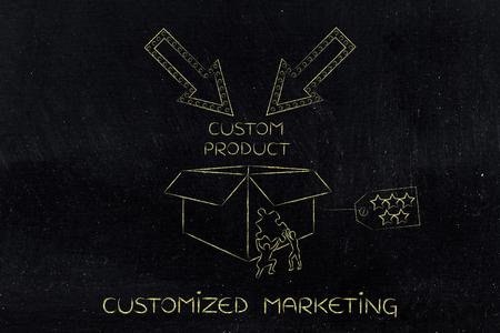 highend: product customization concept: men with missing piece of puzzle completing a personalized item box Stock Photo