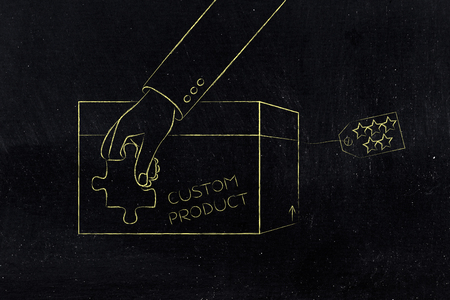 product customization concept: hand with missing piece of puzzle completing a personalized item box Stock Photo