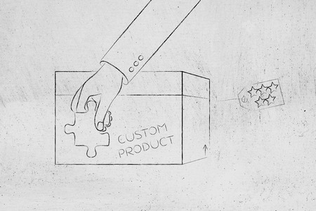 missing piece: product customization concept: hand with missing piece of puzzle completing a personalized item box Stock Photo