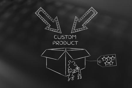 product maatwerk concept: mannen met een ontbrekende stukje van de puzzel invullen van een gepersonaliseerd punt doos