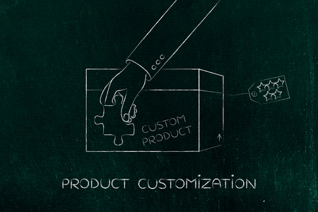 highend: product customization concept: hand with missing piece of puzzle completing a personalized item box Stock Photo
