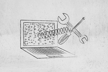 malfunction: concept of fixing or setting up your computer: laptop with wrench and screwdriver popping out of the screen on a spring Stock Photo