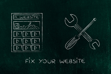 popularity: concept of fixing your website or social media contents: webpage next to wrench and screwdriver Stock Photo