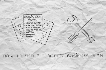 concept of fixing your business plan: corporate documents next to wrench and screwdriver