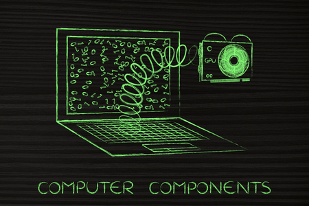 custom cabinet: configuring the perfect computer for your needs: laptops GPU popping out on a spring Stock Photo